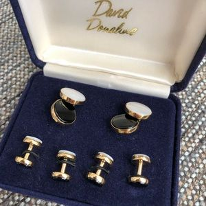 David Donahue Cufflinks Stud Set 2in1 Onyx NEW
